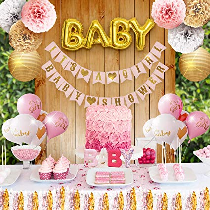 Decoración rosa y dorada para baby shower de niña